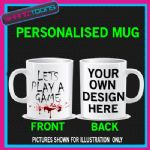 LETS PLAY A GAME SAW SLOGAN MUG  GOTH